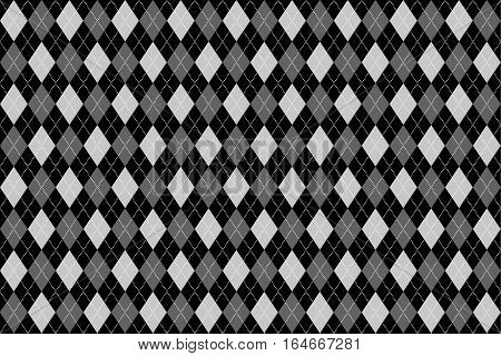 Classic argyle seamless pattern for textile, paper print. Vector illustration. Black grey
