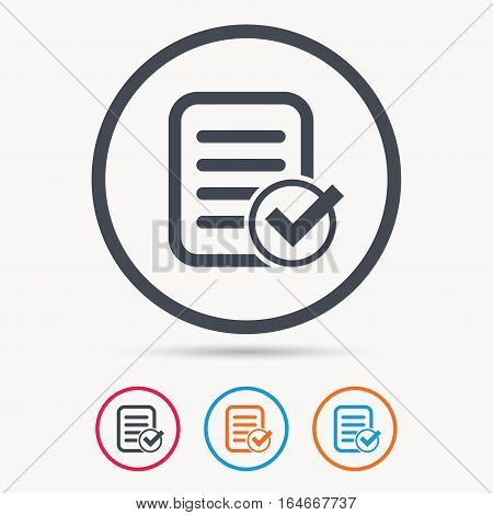 File selected icon. Document page with check symbol. Colored circle buttons with flat web icon. Vector