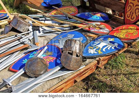 Fake kite shields helmets and weapons of the X--XIV centuries