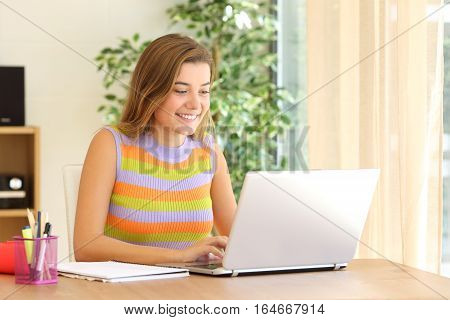 Portrait of a casual student studying on line using a laptop sitting in a chair in a table at home with a window in the background