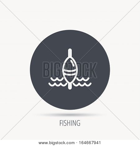 Fishing float icon. Fisherman bobber sign. Round web button with flat icon. Vector