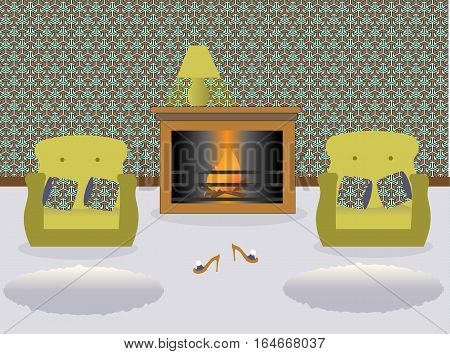 Living room with fireplace and turned on a lamp on it. Two green armchairs witn colored decorative pillows. Сarpets. Sexy cute slippers with high heels. Vector illustration.