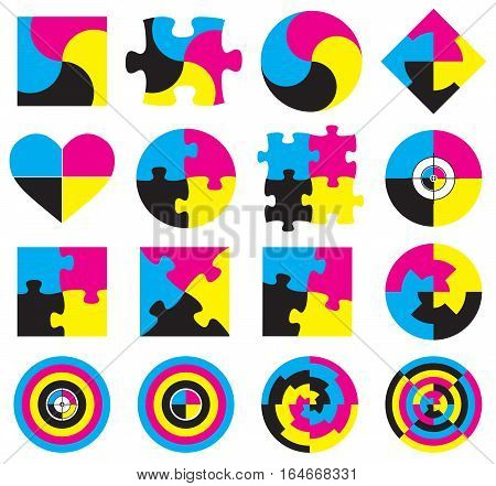 Creative CMYK logo or icon design collection over white, vector illustration