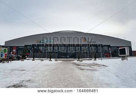 Chomutov Ustecky kraj Czech republic - January 07 2017: new multipurpose arena before the game of hockey junior team Pirati Chomutov in winter