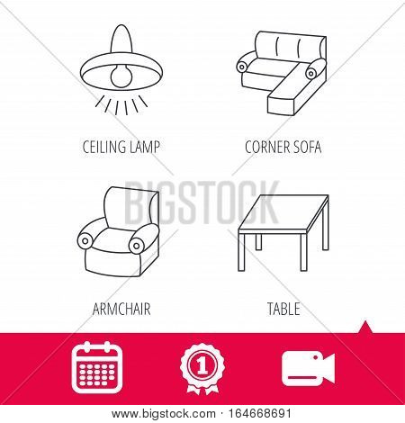Achievement and video cam signs. Corner sofa, table and armchair icons. Ceiling lamp linear signs. Calendar icon. Vector