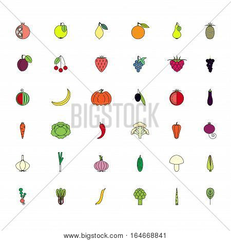 Colorful set fruits and vegatables icons on white, stock vector illustration