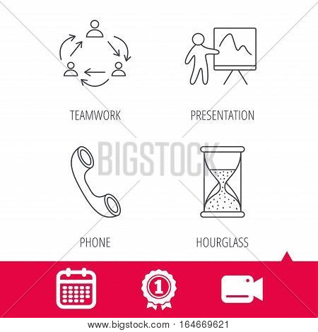 Achievement and video cam signs. Teamwork, presentation and phone call icons. Hourglass linear sign. Calendar icon. Vector