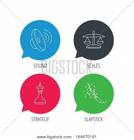 Colored speech bubbles. Scales of justice, sound and strategy icons. Slapstick linear sign. Flat web buttons with linear icons. Vector