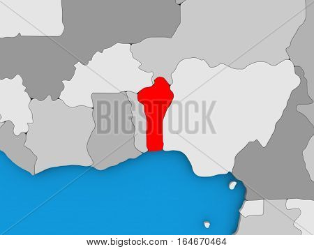 Benin In Red On Globe