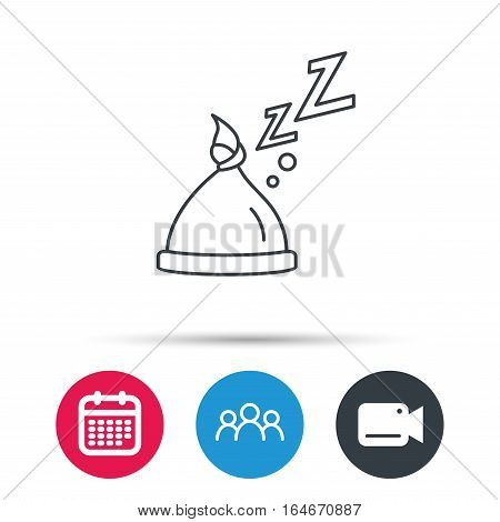 Baby hat with nodule icon. Newborn cap sign. Toddler sleeping clothes symbol. Group of people, video cam and calendar icons. Vector