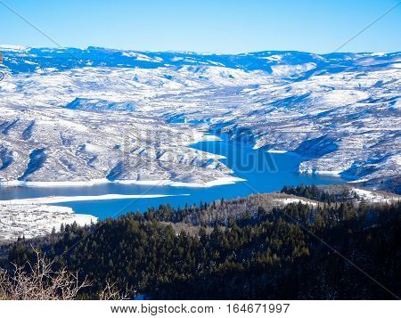 Deer Creek Reservoire From Peak Of Sundance Mountain