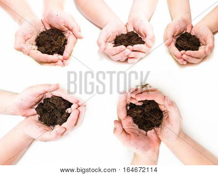 Fertile Soil In Hands Set