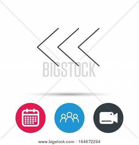 Left arrow icon. Previous sign. Back direction symbol. Group of people, video cam and calendar icons. Vector