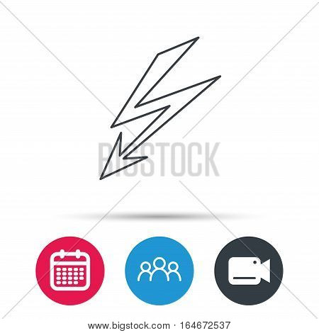 Lightening bolt icon. Power supply sign. Electricity symbol. Group of people, video cam and calendar icons. Vector