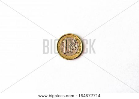1 Euro coin coin denominations one euro heads and tails. Symbol of European currency to wealth and investment. Money of European Union