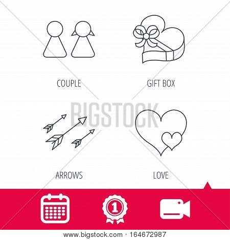 Achievement and video cam signs. Love heart, gift box and couple icons. Arrows linear sign. Calendar icon. Vector