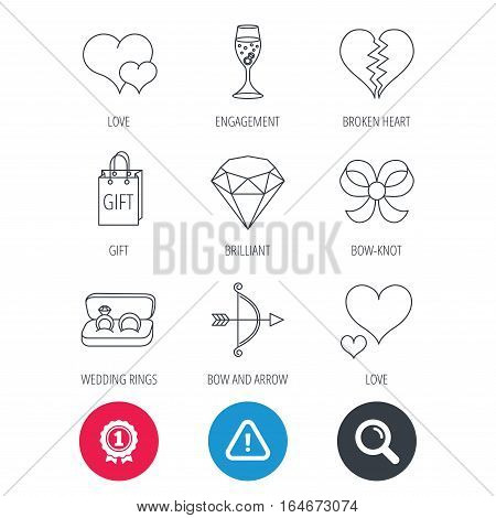Achievement and search magnifier signs. Love heart, gift box and wedding rings icons. Broken heart and engagement linear signs. Valentine amour arrow, brilliant flat line icons. Hazard attention icon