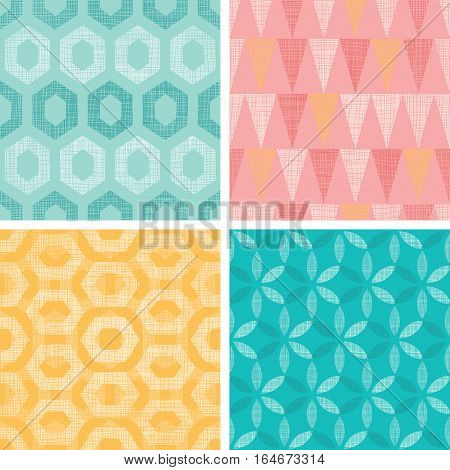 Vector Set Of Vintage Geometric Abstract Seamless Patterns Backgrounds With Linen Texture. Perfect for vintage and modern fabric, scrapbooking, wallpaper, packaging. Surface pattern design.