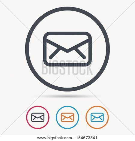 Envelope icon. Send email message sign. Internet mailing symbol. Colored circle buttons with flat web icon. Vector