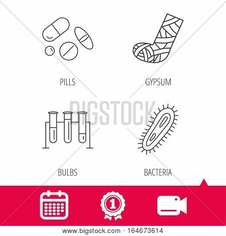 Achievement and video cam signs. Broken foot, bacteria and medical pills icons. Lab bulbs linear sign. Calendar icon. Vector