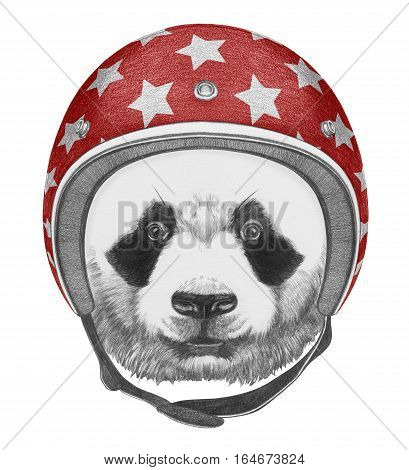 Portrait of Panda with Helmet. Hand drawn illustration.