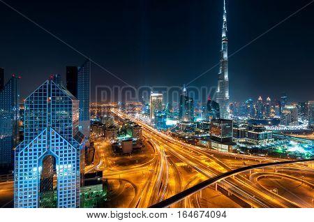 Amazing Night Dubai Downtown Skyline With Tallest Skyscrapers And Beautiful Sky, Dubai, United Arab