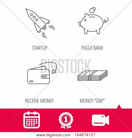 Achievement and video cam signs. Piggy bank, cash money and startup rocket icons. Wallet, receive money linear signs. Calendar icon. Vector