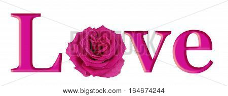 Lovely Pink Rose Heart in LOVE - simple pink graphic of the word LOVE with a beautiful heart shaped pink rose making the O isolated on white