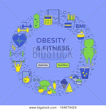 Modern unique style design - obesity and fitness flyer or banner, landing page for medical site, obesity problems site. Linear style. Card or poster template.