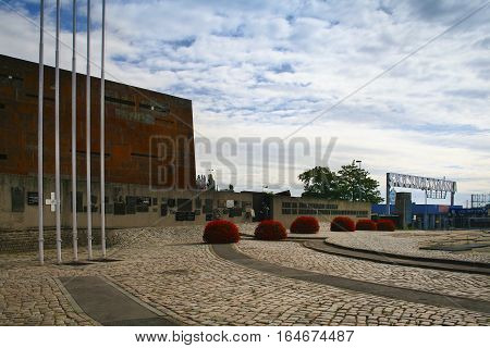 Gdansk Poland - August 2 2013: Entrance to the Gdansk Shipyard - Place of the foundation of Independent Self-governing Trade Union
