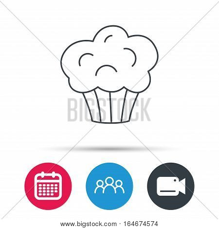 Muffin icon. Cupcake dessert sign. Bakery sweet food symbol. Group of people, video cam and calendar icons. Vector