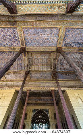 Isfahan Iran - October 20 2016: Wooden columns of Chehel Sotoun pavilion in Isfahan city Iran