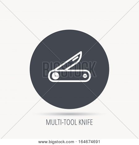 Multitool knife icon. Multifunction tool sign. Hiking equipment symbol. Round web button with flat icon. Vector