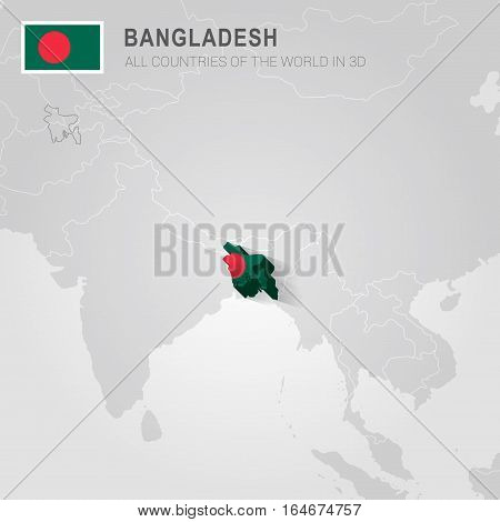 Bangladesh painted with flag drawn on a gray map.