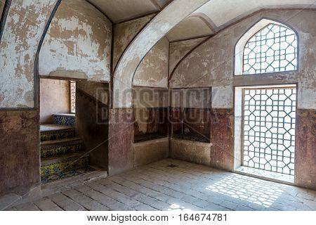 Isfahan Iran - October 20 2016: Staircase of Ali Qapu palace in Isfahan city Iran