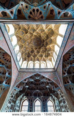 Isfahan Iran - October 20 2016: Ceiling of Music Hall in Ali Qapu palace in Isfahan city Iran