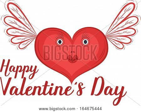 Happy Valentines Day greeting card with heart vector illustration. Red heart characters with wings isolated on white background. Romantic celebration template