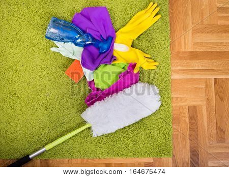 Cleaning Tools On Carpet