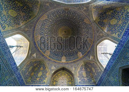 Isfahan Iran - October 20 2016: lofty dome of Shah Mosque also called Imam mosque in Isfahan city Iran