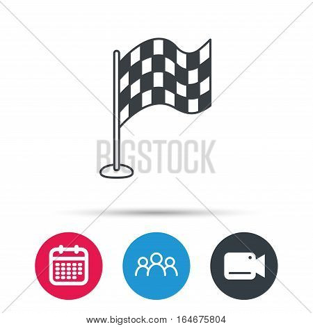 Racing flag icon. Finishing symbol. Group of people, video cam and calendar icons. Vector