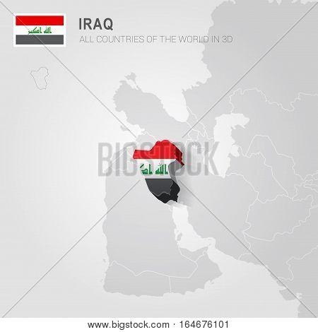 Iraq painted with flag drawn on a gray map.