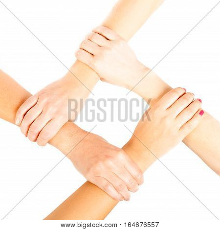 4 ladies putting their hands together, white background.
