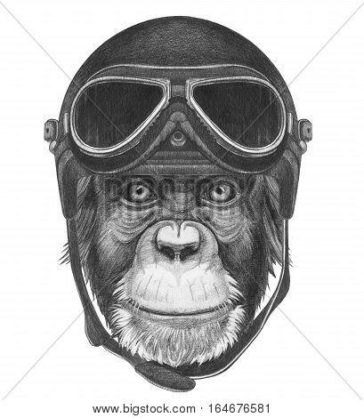 Portrait of Monkey with Vintage Helmet. Hand drawn illustration.