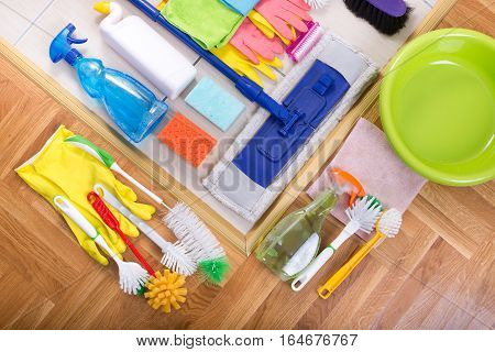 Cleaning Equipment On The Floor