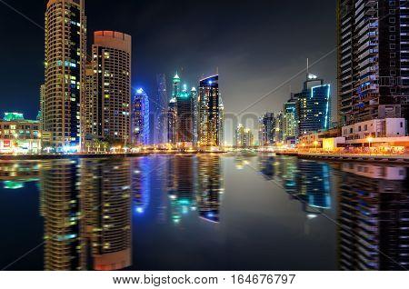 Amazing Night Dubai Marina Skyline With Tallest Skyscrapers And Beautiful Water Reflection, Dubai, U