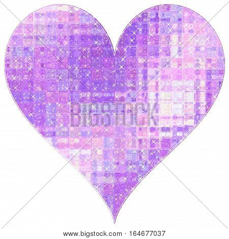 Light violet heart from little glass crystal sparkling cubes