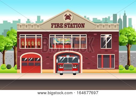 A vector illustration of Fire Station Building