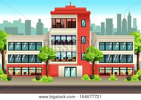 A vector illustration of Business Offices Building