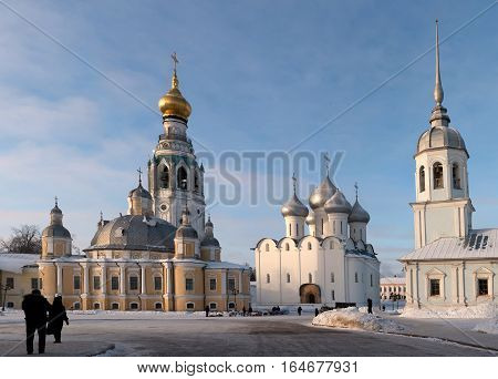 Vologda kremlin. Journey to the North of Russia. Saint Sophia orthodox cathedral and church of Resurrection of Jesus Vologda Kremlin Russia. Photo in frosty sunny winter day. HD.
