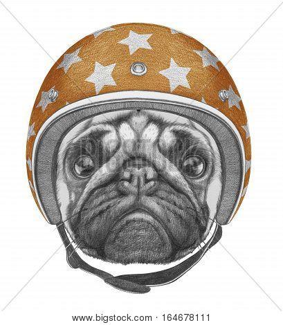 Portrait of Pug Dog with Helmet. Hand drawn illustration.